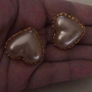 Chanel vintage pearl heart earrings